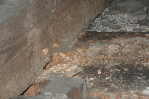 Wet rot in roof timbers